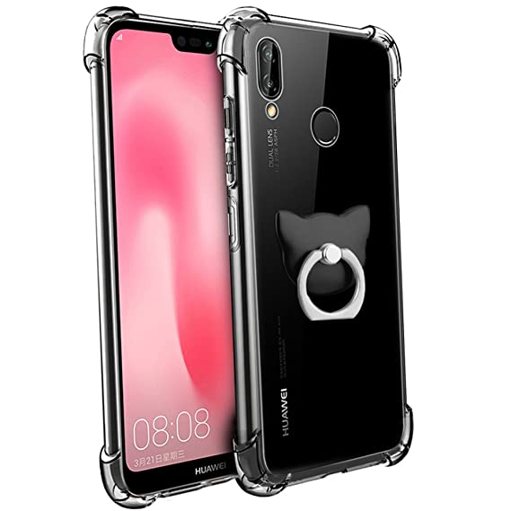 Huawei P20 Lite Case, FoneExpert Soft TPU Transparent Clear Slim Gel Silicone Cover Case with 360° Rotation Kickstand Ring For Huawei P20 Lite