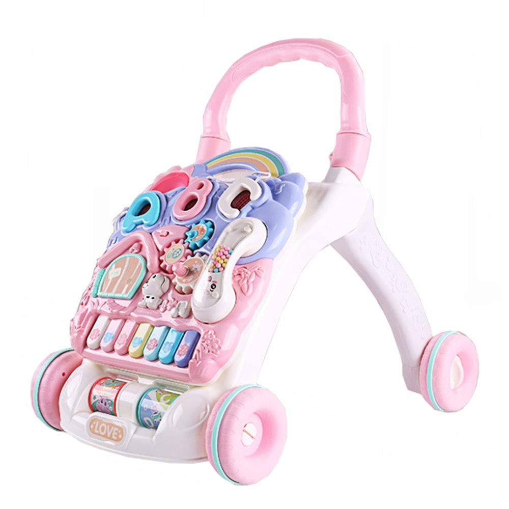 Ybriefbag-Toys Baby Three-in-one Activity Walker 6-7-18 Months 1 Year Old Baby Walker Baby Stroller Children Multifunctional Walker Anti-Rollover (Color : Pink, Size : 464238cm)