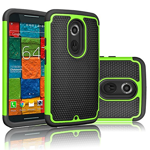 Moto X (2nd Gen) Case, Tekcoo(TM) [Tmajor Series] [Green/Black] Shock Absorbing Hybrid Rubber Plastic Impact Defender Rugged Slim Hard Case Cover Shell For Motorola Moto X 2nd Generation 2014
