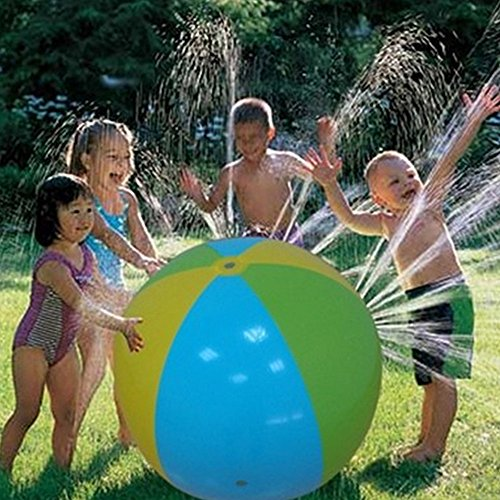 Inflatable Water Spray Ball Outdoor Fun Toy for Hot Summer Swimming Party Beach Pool Play Children Kids Beach Ball Sprinkler (Inflatable Outdoor Water Toys)