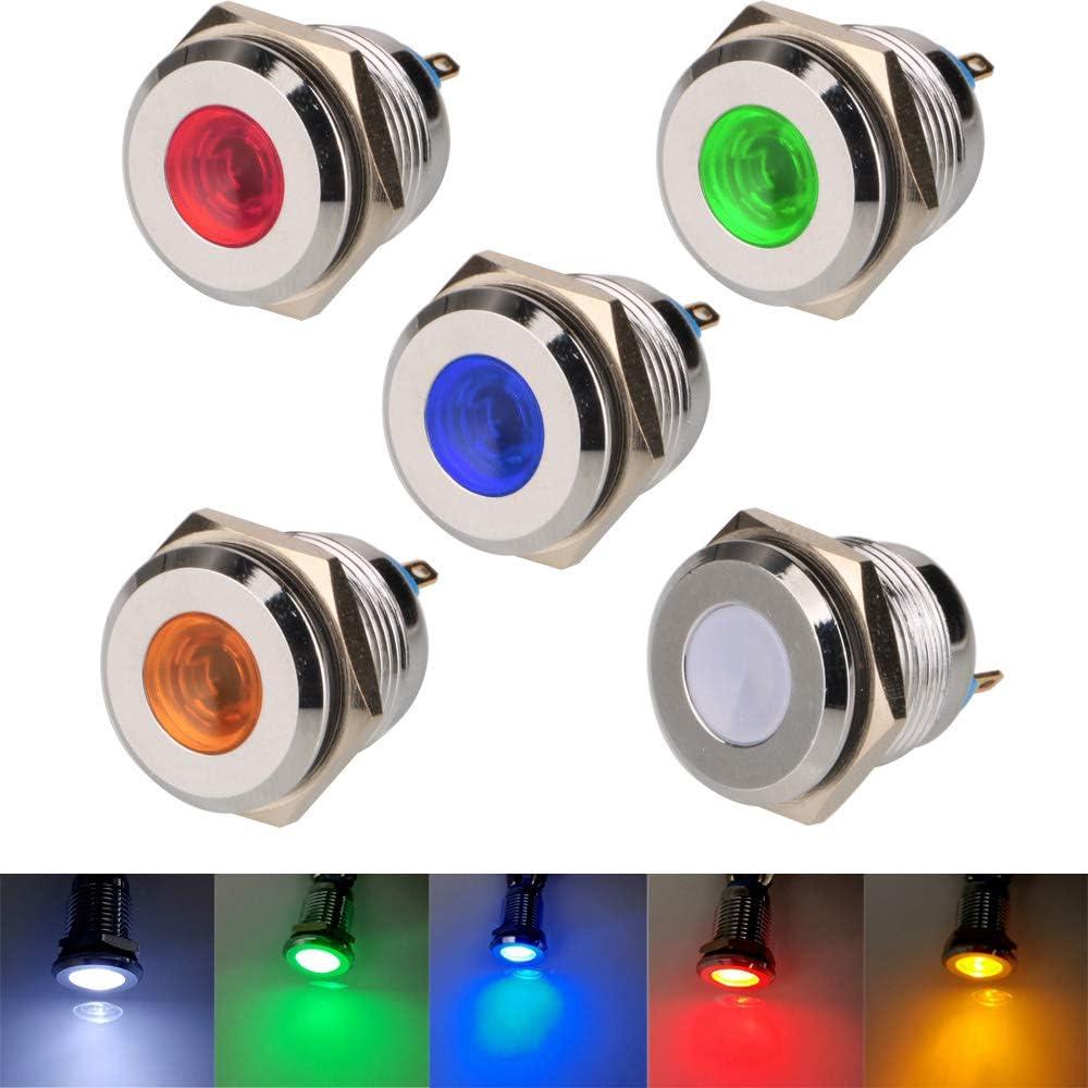 Gebildet 5pcs 16mm 12V-24V Acero Inoxidable Impermeable Luz Indicadora LED para el Coche Barco Camión Van
