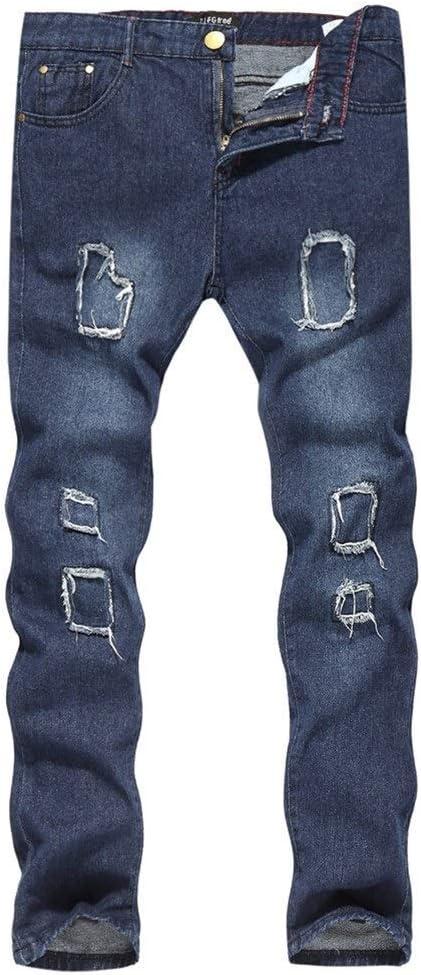 メンズジップワイドパンツ 新しいメンズスリムジーンズ洗濯レジャーの足のズボンの古い穴を行います エフェクトライトウォッシュ (Color : Dark Blue, Size : 2XL)