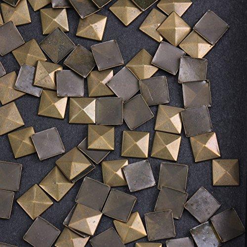 Hotfix Iron On,7X7mm Flat Back Pyramid Studs - 1/4 Flatback Glue on Studs 100pcs(Antic Bronze, Pyramid 7x7mm)