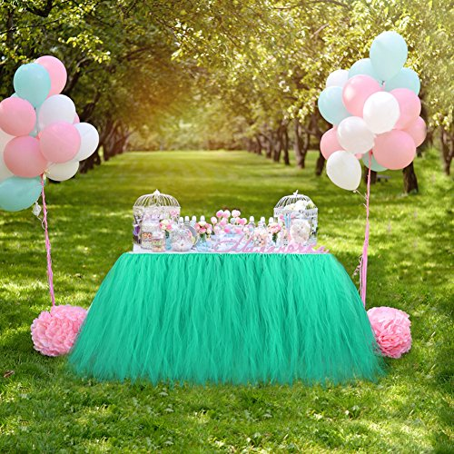 AerWo Mint Green Tutu Table Skirts, 30 by 39 inch, Baby Show