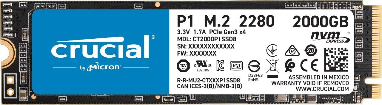 Crucial P1 2TB 3D NAND NVMe PCIe Internal SSD, up to 2000MB/s - CT2000P1SSD8
