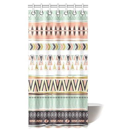 InterestPrint Native American Shower Curtain Ethnic Geometric Design Aztec Inca Navajo Tribal Cultural Artwork Fabric