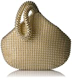 Jessica McClintock Women's Staci Mesh Wristlet Pouch, Light Gold