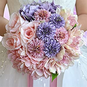 Zebratown 8'' Chrysanthemum Bridal Bridesmaid Bouquets Artificial Rose Silk Flowers Bouquet Home Wedding Decoration (Pink) 61