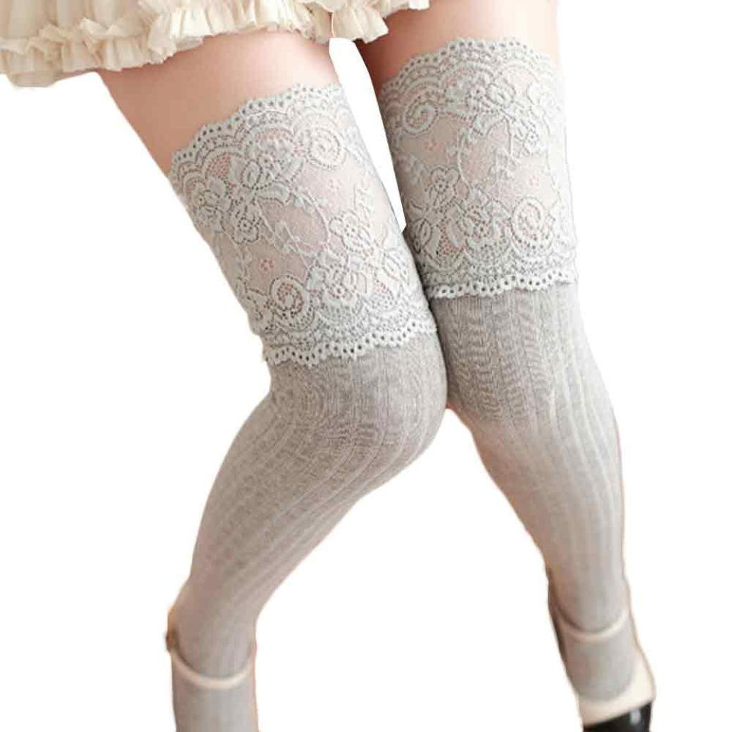 Calze alte in tubo di pizzo, Longra Cotone materiale superiore solido colore donne inverno ragazza sopra il ginocchio gamba scaldino morbido cotone calze di pizzo Leggin Bianco)