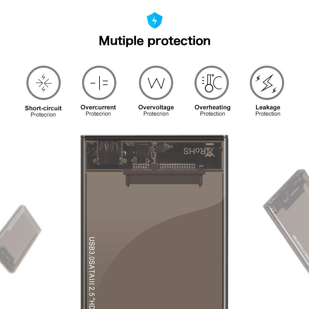 Kycola Hard Drive Enclosure RJ01 USB 3.0 to Hard Drive Disk External Enclosure Case for 2.5 Inch/3.5 Inch SATA I/II/III/HDD 10TB Support UASP(Black) (RJ01, Black) (RJ02-A, RJ02-A/Black) by Kycola (Image #4)