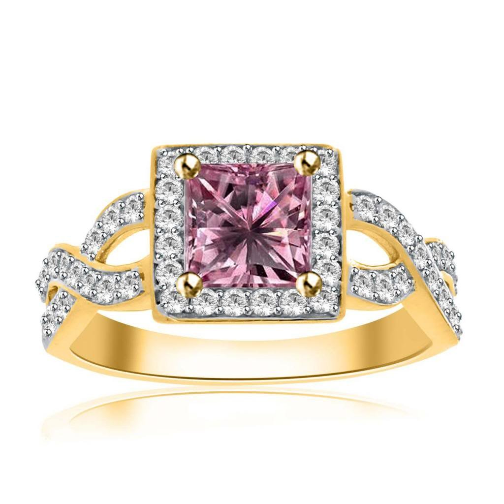 14k Yellow Gold Over 925 Sterling Silver 1.00 Ct Princess Cut Pink Sapphire and Cubic Zirconia Wedding Rings Engagement Rings For Women Anniversary Promise Ring