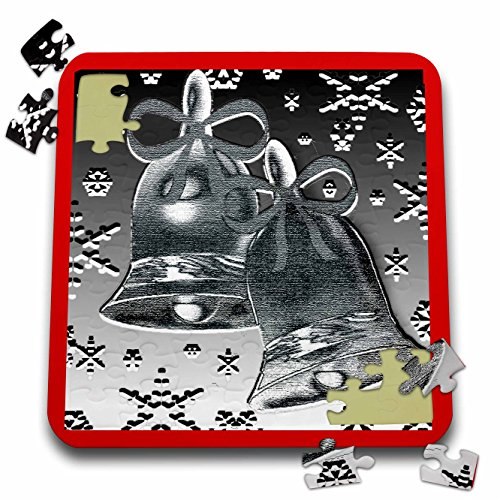Dawn Gagnon Photography and Designs-Holidays - Silver Bell design with red border and snowflakes - 10x10 Inch Puzzle (Red Dawn Border)