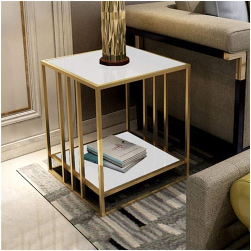 2020 Nieuwste Metalen Vierkante Salontafel 2-layer Presentatieverpakking Zijlijst Eenvoudige Glazen Nachtkastje Witte 4.11 (Color : Black) White yhtXLYm