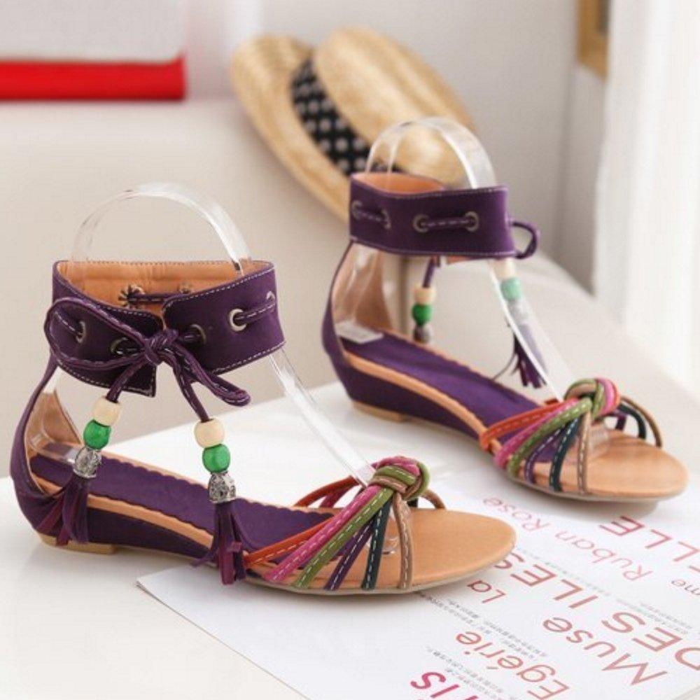 RizaBina Women Fashion Wedge Heel Bohemia Sandals Lace Up Open Toe Shoes