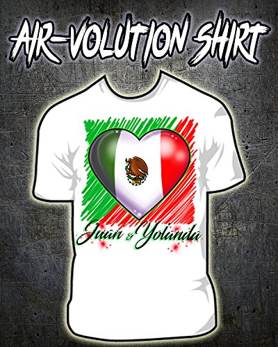 Personalized Airbrushed Mexican Flag Heart Shirt ()