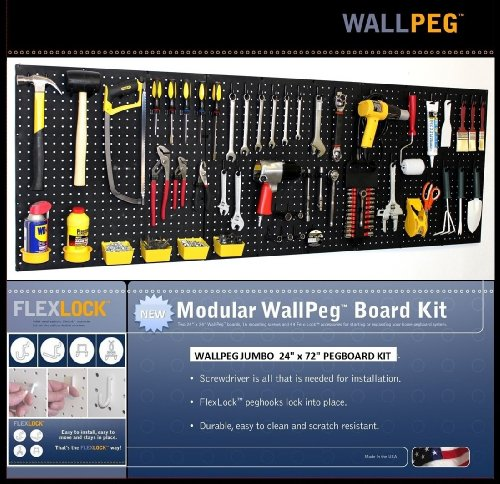 WallPeg 12 sq ft Black Workbench Pegboard Organizer with Locking Peg Hooks AM 24243B by WallPeg