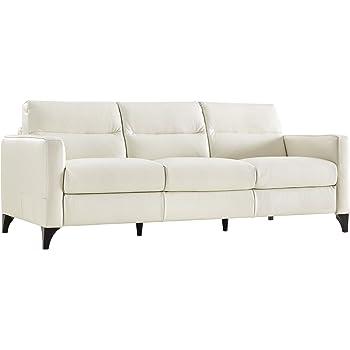 Natuzzi Editions Isacco Cream Leather Stationary Sofa