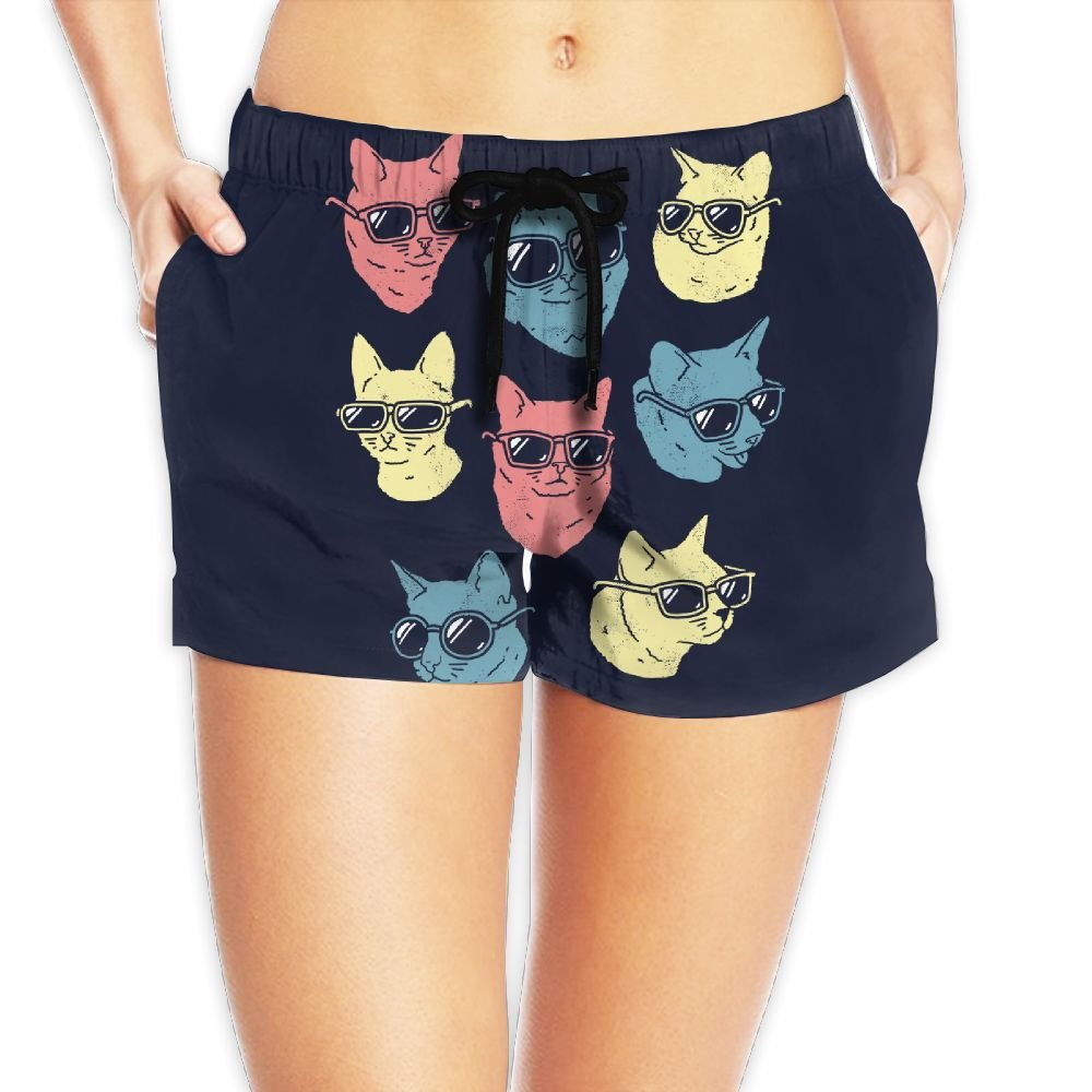 Cool Cats With Sunglasses Women's Swim Trunks Quick Dry Water Beach Board Shorts