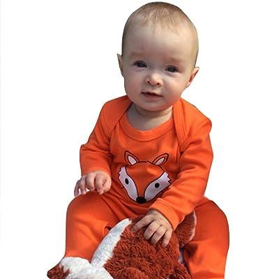 Matoen Newborn Infant Baby Boys Girls Fox Printing Long Sleeve Romper Jumpsuit Clothes