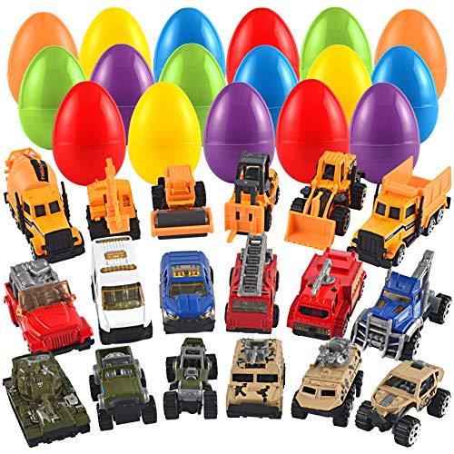 JOYIN 18 Packs Jumbo Easter Eggs with Prefilled Die-cast Vehicles Easter Basket Stuffers Easter Party Favors for Kids -
