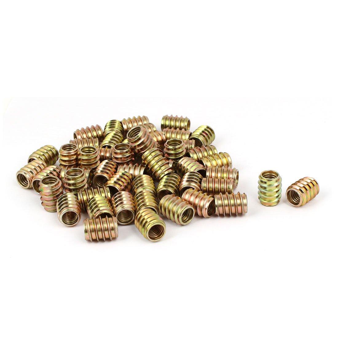 uxcell M8 x 17mm Wood Furniture Insert Screw E-Nut Bronze Tone 50pcs