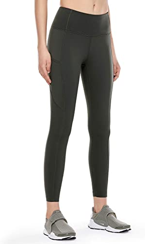 TALLA 42. CRZ YOGA Mujer Naked Feeling Leggings Deportivas Cintura Alta Yoga Fitness Pantalones con Bolsillo-63cm