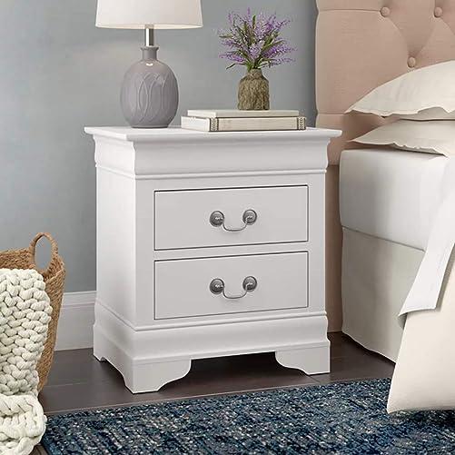 Binrrio 2 Drawers White Nightstand Modern Wooden Storage Cabinet Bedside Storage End Table Accent Table - the best modern nightstand for the money