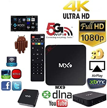 MX9 Smart Android TV Box Android 7.1 Rock-Chips RK3229 Quad-Core 2 G/16G XBMC 4 K 3D WiFi H.265 DLNA miracast KODI Reproductor Multimedia HD: Amazon.es: Electrónica