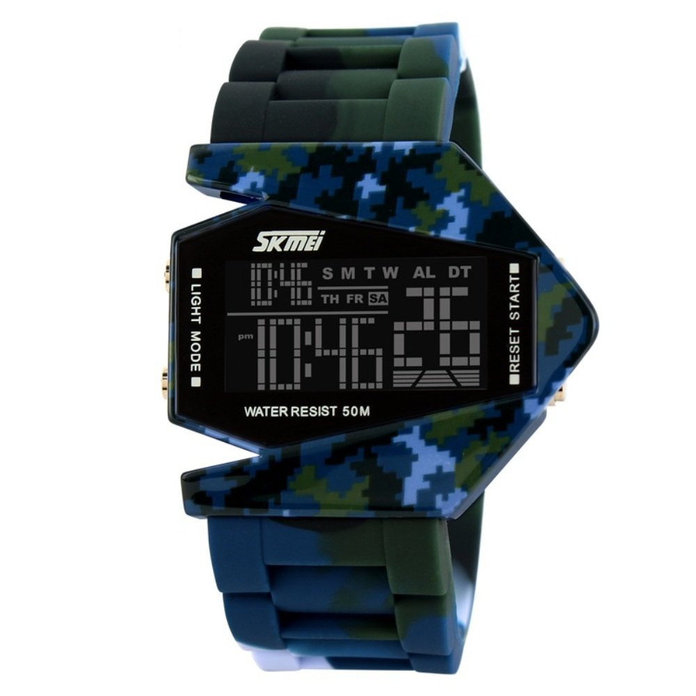 Military Cool Colorful Light Digital Sport Water-proof Stealth fighter Style Wrist Watch -Blue