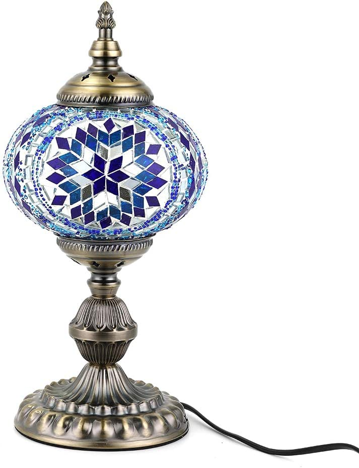 Kindgoo Turkish Mosaic Table Lamp Handmade Tiffany Style Glass Lamp for Living Room, Led Light Bulb Included (Blue)