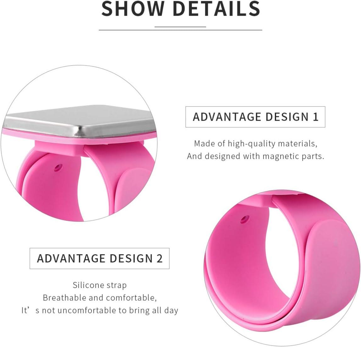 EXCEART Magn/étique Poignet Couture Pincushion Coussin Magn/étique Pin Coussin Bracelet Pin Support de Coussin pour Quilting /Épingles /à Coudre Pinces /à Cheveux Orange