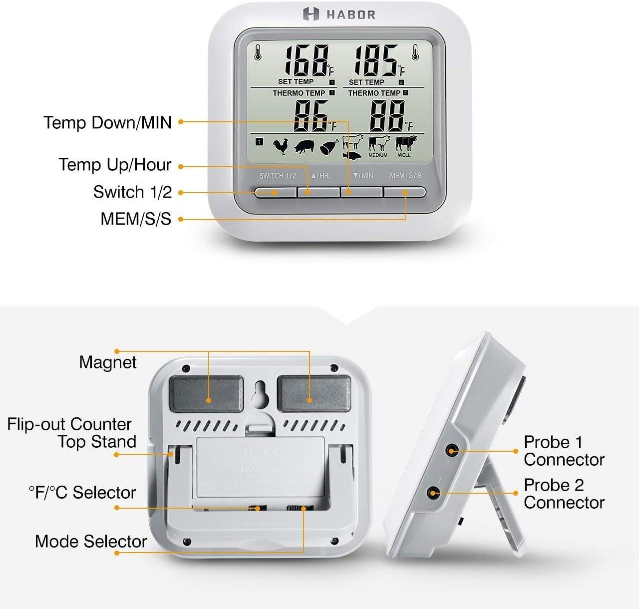 Horno Habor Termometro Horno,Term/ómetro Digital de Cocina Term/ómetro Temporizador con Pantalla LCD Grande y 2 Sondas para Cocina Parilla Kitchen L/íquido