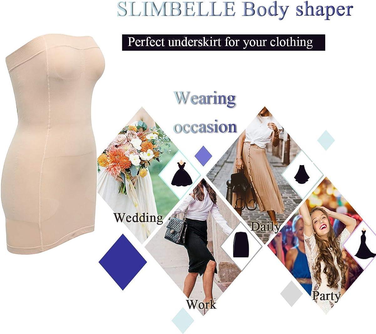 SLIMBELLE Donna Sottoveste Modellante Senza Spalline Shapewear Tratto Tube Top Snellente Formale Corpetto Body Shaper Vestito Shaping Slip Mini Vestito Intimo per Abito da Sposa
