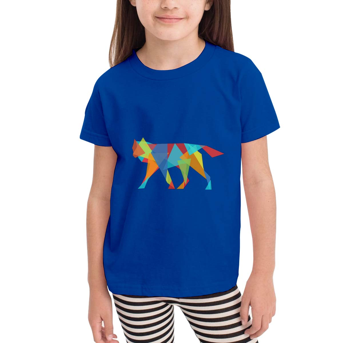 Colorful Geometry Wolf 100/% Cotton Toddler Baby Boys Girls Kids Short Sleeve T Shirt Top Tee Clothes 2-6 T