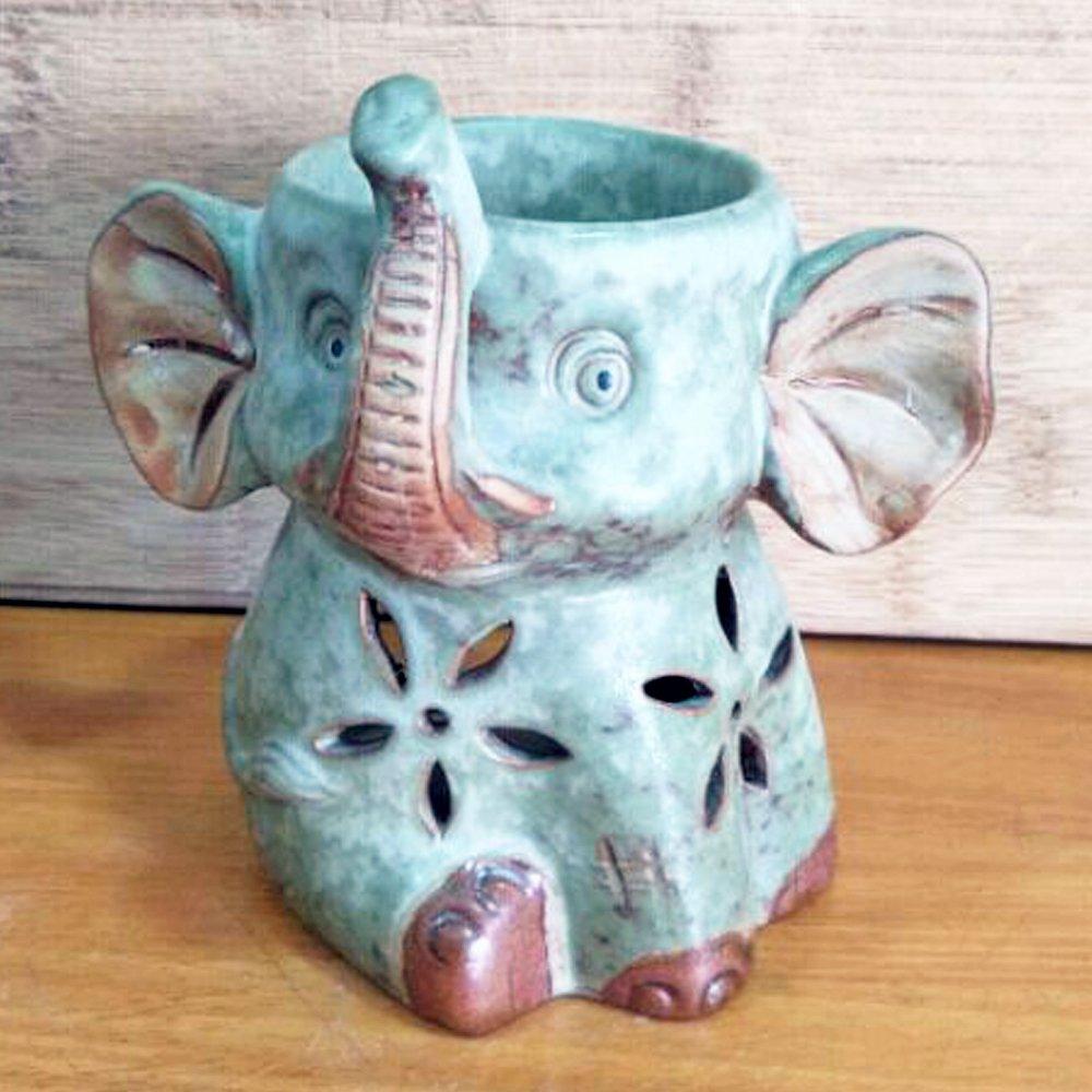 New Year's Better-way Ceramic Aromatherapy Oil Burner Tealight Wax Warmer Decorative Ceramic Incense Holder (Adorable Elephant Animal)