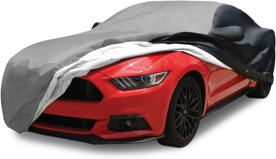 Black with Red Stripes Compatible for 2005-2014 Ford Mustang Ultraguard Sport Series Stretch Satin Indoor Car Cover