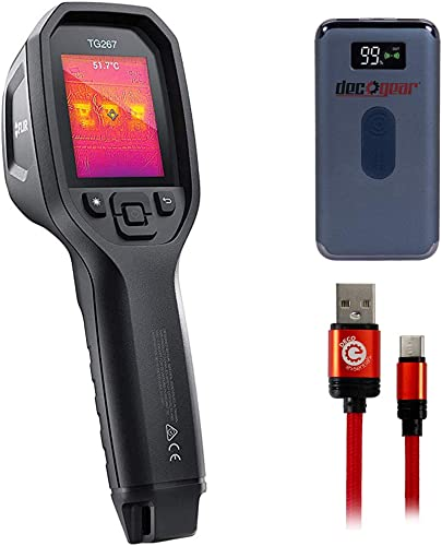 FLIR TG267 Diagnostic Thermal Imaging Camera with Bluetooth Bundle with Deco Gear Power Bank 8000 mAh with Wireless Device Charging and Deco Essentials 3FT Braided Type-C Charge and Sync USB Cable