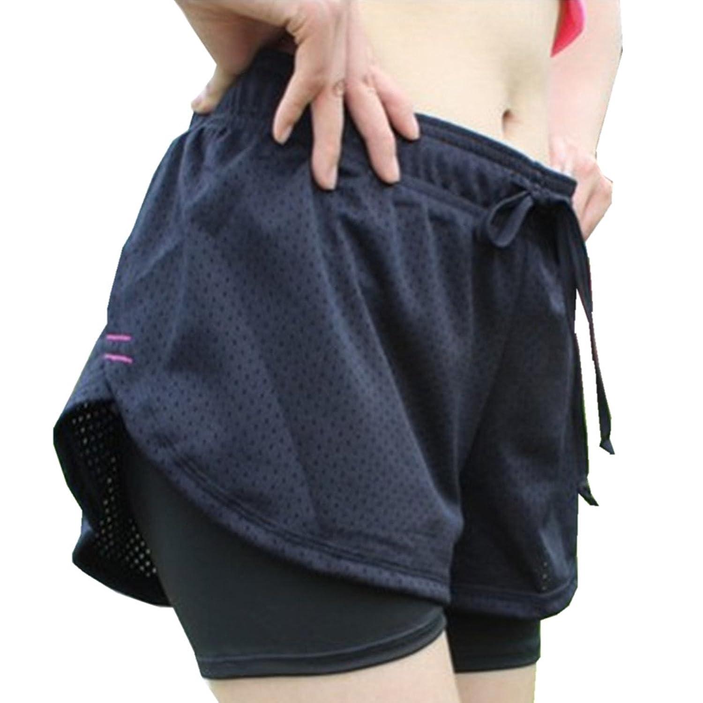 BININBOX Women's Shorts Waistband Stretchy Mesh 2 In 1 Yoga Running Jogging