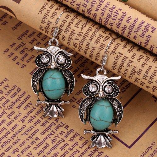 Yazilind Bijoux Cadeau de Tibetain Argent Ovale Turquoise cristal de collier de hibou boucles d'oreilles pour les femmes?