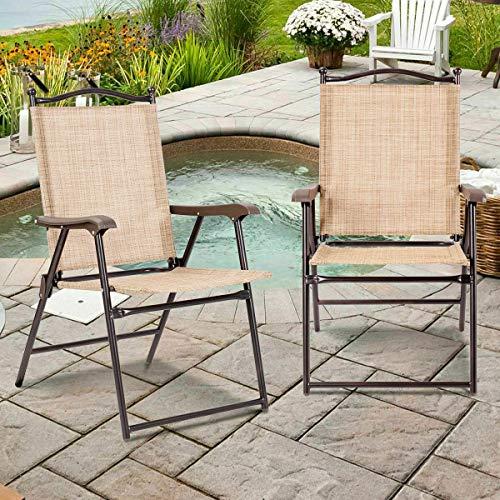 Stark Item Set of 2 Patio Folding Sling Back Chairs Camping Deck Garden Beach Yellow (Beach Near Me Umbrella)