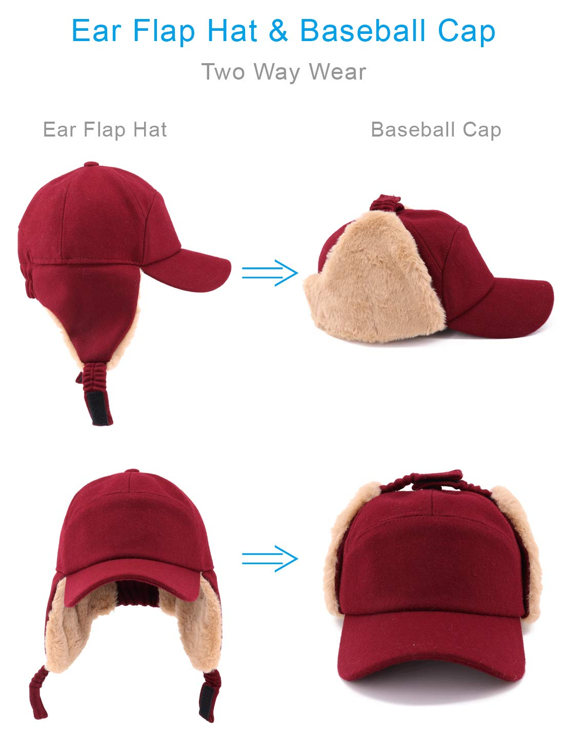 34e62f64325 Gisdanchz 7-7 1  2 Wool Baseball Hat with Visor and Ear Flaps Winter Warm  Cap for Men Women