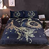 Sleepwish Golden Sun Moon and Stars Duvet Cover Set 3 Pieces Nature's Balance Celestial Fantasy Art Bedding Set (Full)