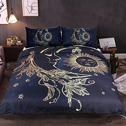 Sleepwish Golden Sun Moon and Stars Duvet Cover Set 3 Pieces Nature's Balance Celestial Fantasy Art Bedding - Check Sun Balance
