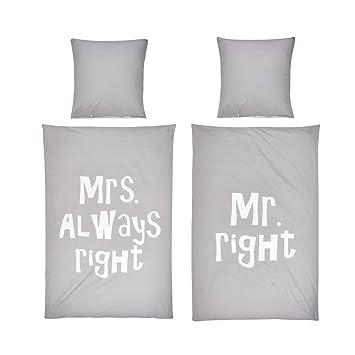 Pureday Bettwäsche Set Schriftzug Mr Right Mrs Always Right 100