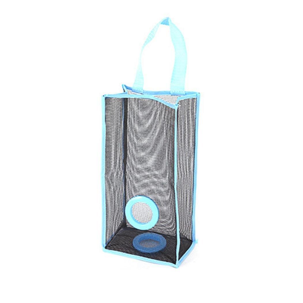 壁マウントプラスチックバッグホルダーディスペンサーHangingタイプ通気性メッシュグリッドGarbage BagsストレージディスペンサーバッグLargeオーガナイザー便利抽出ポーチ( A ,ブルー)   B076Q3F9LR