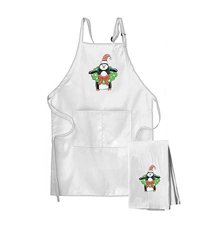 Pingüino con un adorno de Navidad Plato de harina saco toalla de cocina y delantal conjunto