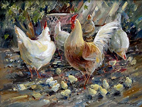 Rooster and hens by Manuel Dominguez Accent Tile Mural Kitchen Bathroom Wall Backsplash Behind Stove Range Sink Splashback One Tile 8