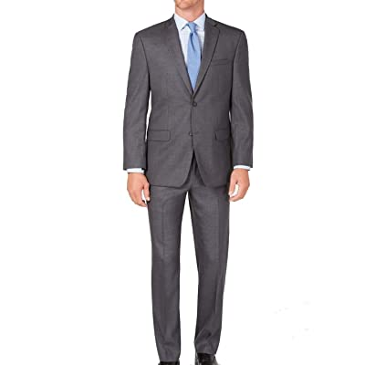Andrew Marc Men's Modern-Fit Gray Neat Solid Suit Grey 40 Long 33Wx33L: Clothing