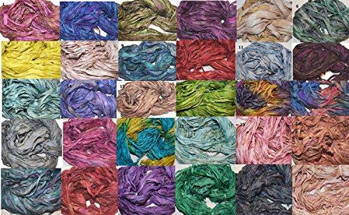 Sewing Silk Ribbon (5 X 10 yards Choose you own colors Sari Pure Silk Ribbon Yarn (5 colors))