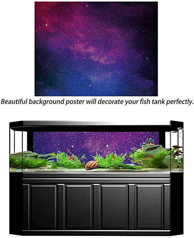 bybyhome Aquarium Background Sticker Navy and Blush,Watercolor Style Starry Space Galaxy Nebula Abstract Cosmos Inspired,Blue Pink Salmon Photography Background